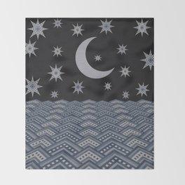 Starry sky over the sea denim photocollage Throw Blanket