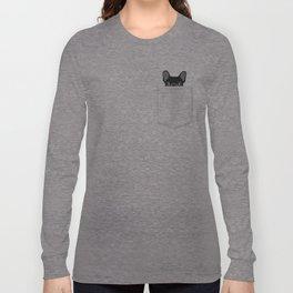 Pocket French Bulldog - Black Long Sleeve T-shirt