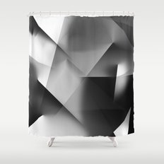 Monochromatic Cubism Shower Curtain