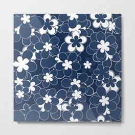 Floral , blue , white 2 Metal Print