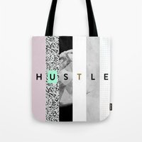 hustle Tote Bags featuring hustle by Miranda J. Friedman