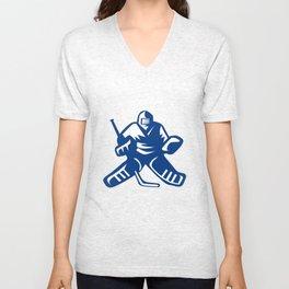Ice Hockey Goalie Retro Unisex V-Neck