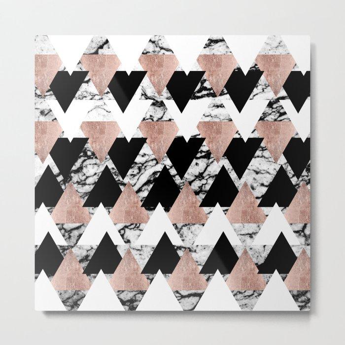 Modern Black White Rose Gold Triangles on Marble Metal Print