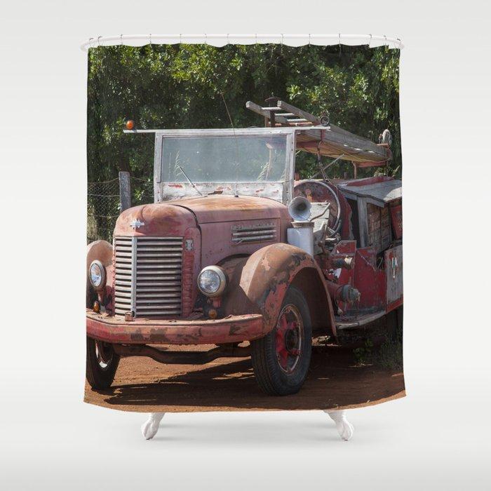 Antique Fire Truck Shower Curtain