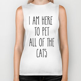 Pet All The Cats Funny Quote Biker Tank