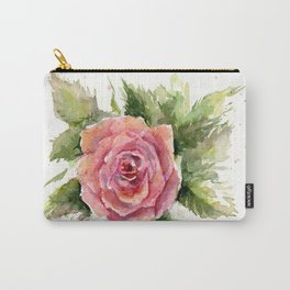 Red Rose Watercolor Pink Rose Flower Floral Art Carry-All Pouch