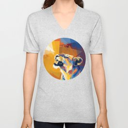 In the Sunlight - Lion portrait, animal digital art Unisex V-Neck