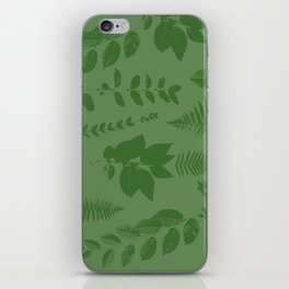 Green eaves on green background iPhone Skin