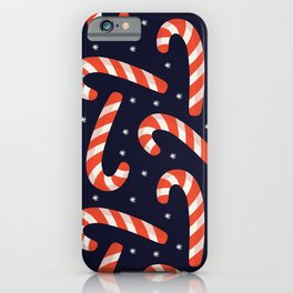 Christmas Candy Canes on Black iPhone Case