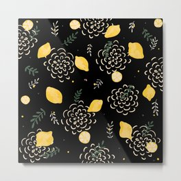 Black lemons Metal Print
