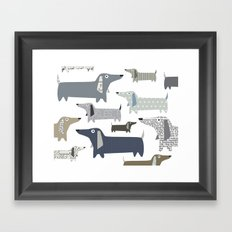 Wiener Dog Pattern Framed Art Print