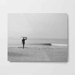 Surf Photography Print, Malibu California, Surf Art, Surf Decor, Black and White Print, Wall Art Metal Print