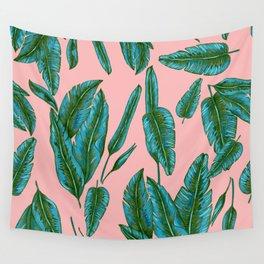 Green and Pink Banana Leafs Wall Tapestry
