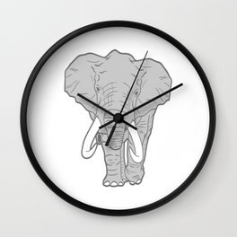 Nice Elephant Animal Art Paleo Cave Tattoo Design T-shirt Design Zoo Big Wild Animals Forest Jungle Wall Clock