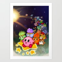 kirby Art Prints featuring Kirby by Art of Alpin Jongari