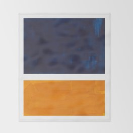 Navy Blue Yellow Ochre Abstract Minimalist Rothko Colorful Mid Century Color Block Pattern Throw Blanket