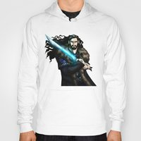 thorin Hoodies featuring Thorin in Blue by wolfanita