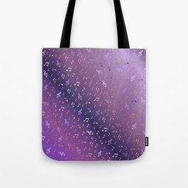 shiny music notes dark purple Tote Bag