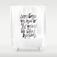 let it go Shower Curtains featuring Let go.  by Hello Monday