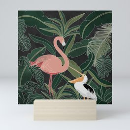Flamingo and Pelican Mini Art Print