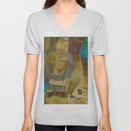 Guitar Study Blue Green Yellow Gold Unisex V-Neck