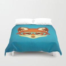 Hipster Fox: Azure Duvet Cover