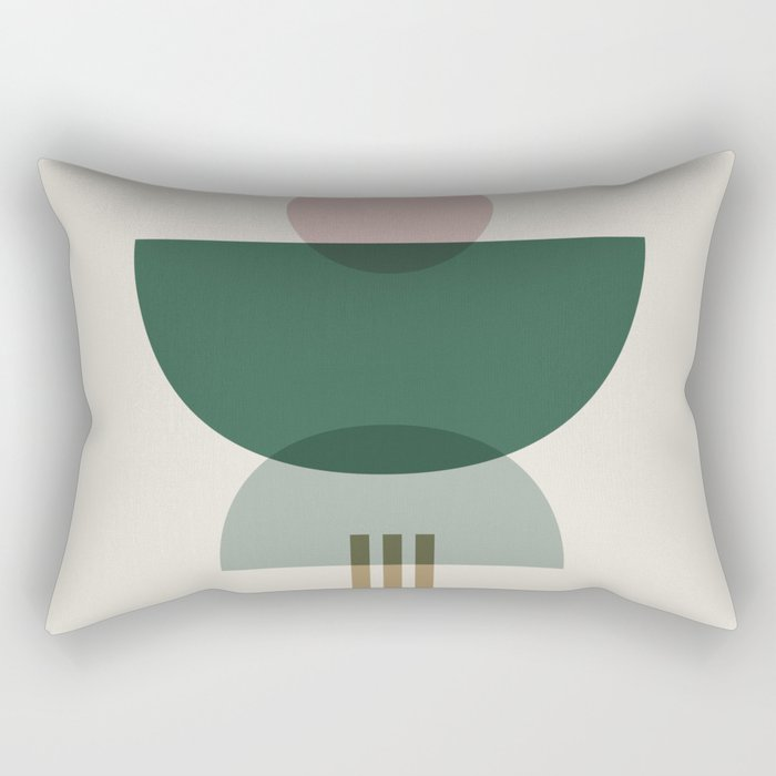 Emerald Abstract Half Moon 3 Rectangular Pillow