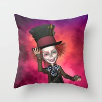 mad hatter Throw Pillows featuring Mad Hatter by apgme