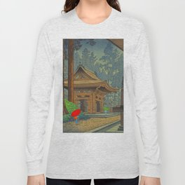 Asano Takeji Japanese Woodblock Print Vintage Mid Century Art Shinto Shrine Forest Long Sleeve T-shirt