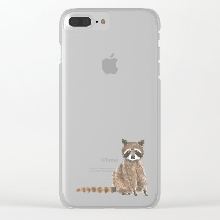 baby raccoon watercolor Clear iPhone Case