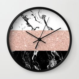 Modern black white marble rose gold color block stripes pattern Wall Clock