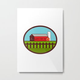 Farm Barn House Silo Oval Retro Metal Print