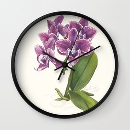 Purple Phalaenopsis Orchid Wall Clock