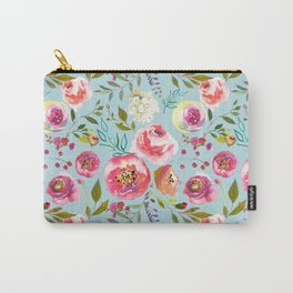 pink and blue watercolor peonies Carry-All Pouch