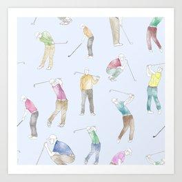 Watercolor Golfers // Light Blue Art Print