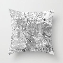 Denver White Map Throw Pillow