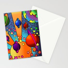 spacey groovy, peter max inspired Stationery Cards