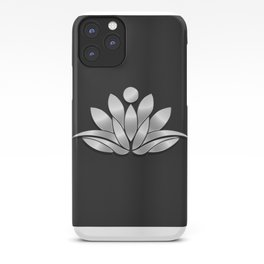 Silver Lotus Flower People. Good Fortune Design iPhone Case