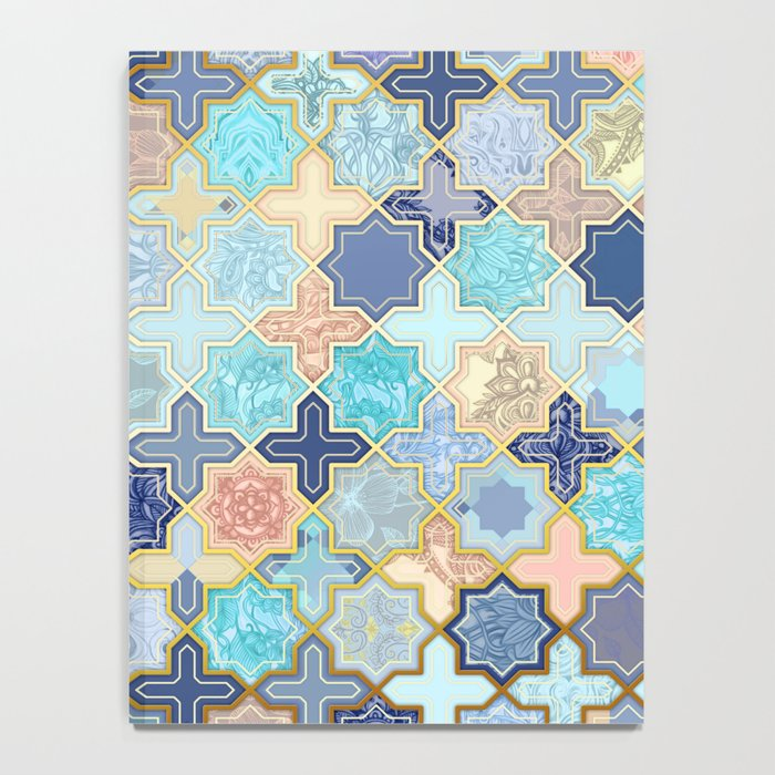 Cream, Navy and Aqua Geometric Tile Pattern Notebook