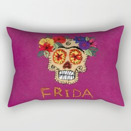Frida - A Portrait of Frida Kahlo, skull and flowers, pink and purple, inspired by Mexican Calavera Rectangular Pillow