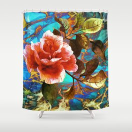 rose on abstract background Shower Curtain