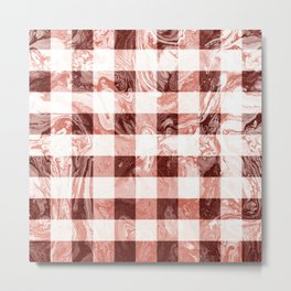 Gingham Plaid Grid Coral Blush Ombre Terracotta Marble Metal Print