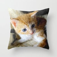 kitten Throw Pillows featuring Kitten  by Christine baessler