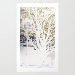 Lamp post and Tree silhouettes Art Print