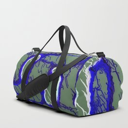 vintage psychedelic painting texture abstract background in dark blue and grey Duffle Bag