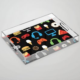 Video Game Party Snack Pattern Acrylic Tray