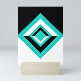 Teal Black and White Diamond Shapes Digital Illustration - Artwork Mini Art Print