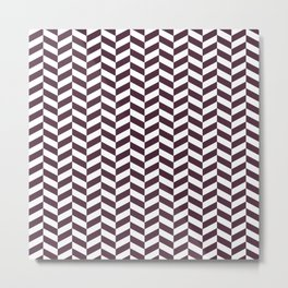 Eggplant Purple Herringbone Pattern Metal Print