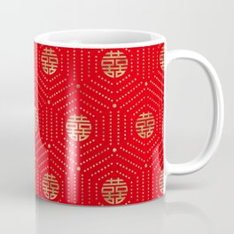 Double Happiness Symbol Pattern gold on red Coffee Mug
