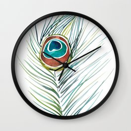 Peacock Tail Feather – Watercolor Wall Clock